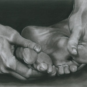 Hands holding feet charcoal drawing