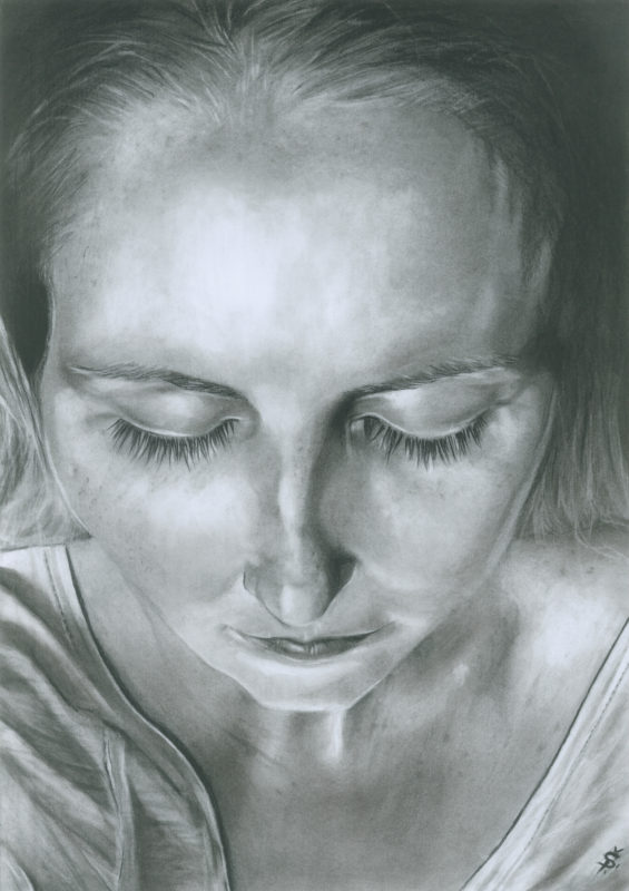 Self Portrait charcoal drawing