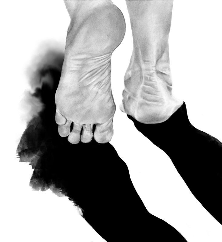 Step-back-black-and-white-feet-hand-drawn-illustration