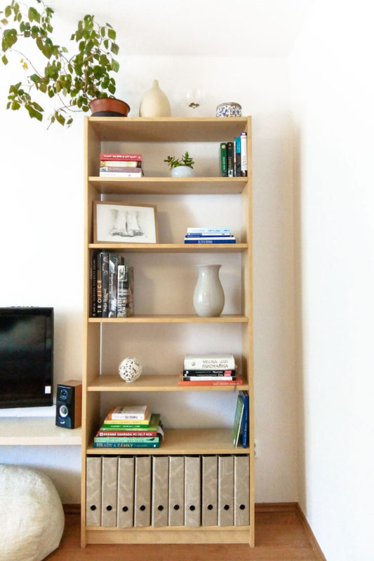 Book shelf decorated with vases, plants and picture