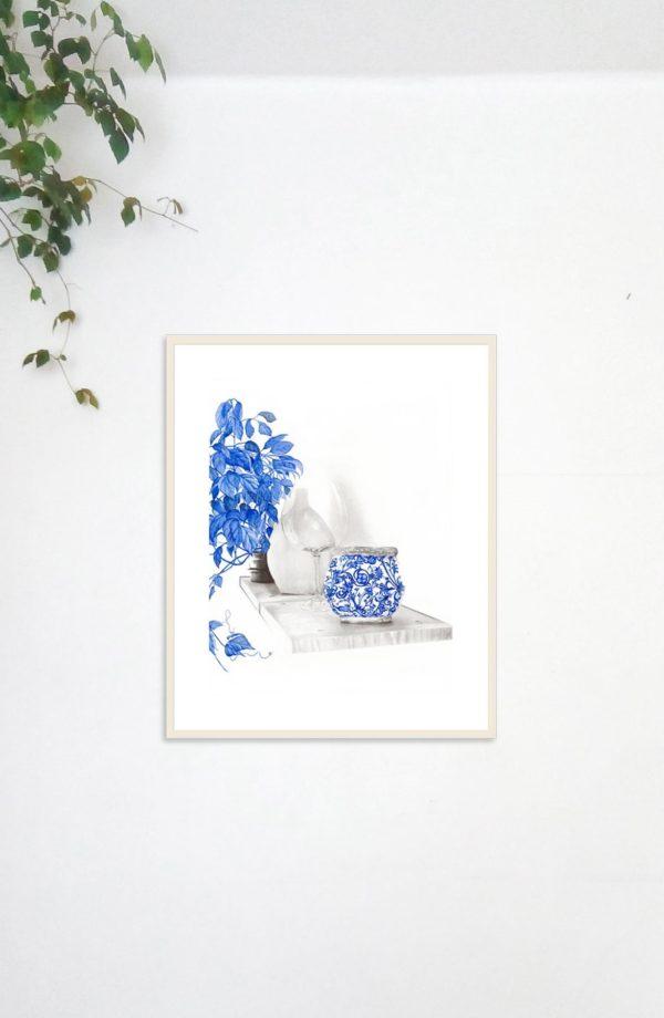 Shelf Still Life Art blue watercolor