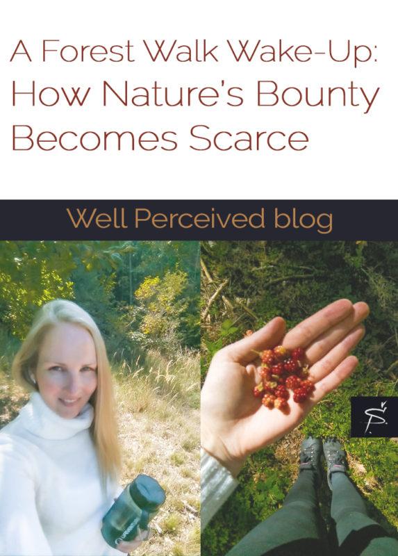 Woman in nature, handful of raspberries,