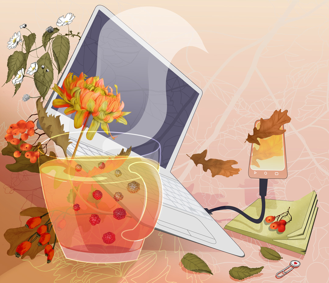 Still life illustration laptop cup and autumn florals